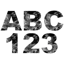 Load image into Gallery viewer, Grey Fire Flames Reflective Letter and Number Decals