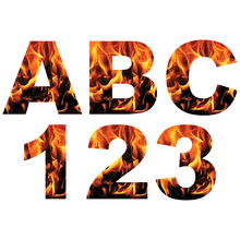 Load image into Gallery viewer, Orange Fire Flames Reflective Letter and Number Decals