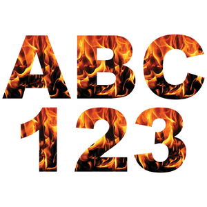Orange Fire Flames Reflective Letter and Number Decals