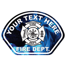 Load image into Gallery viewer, Blue Flames Fire Helmet Front Reflective Vinyl Decal