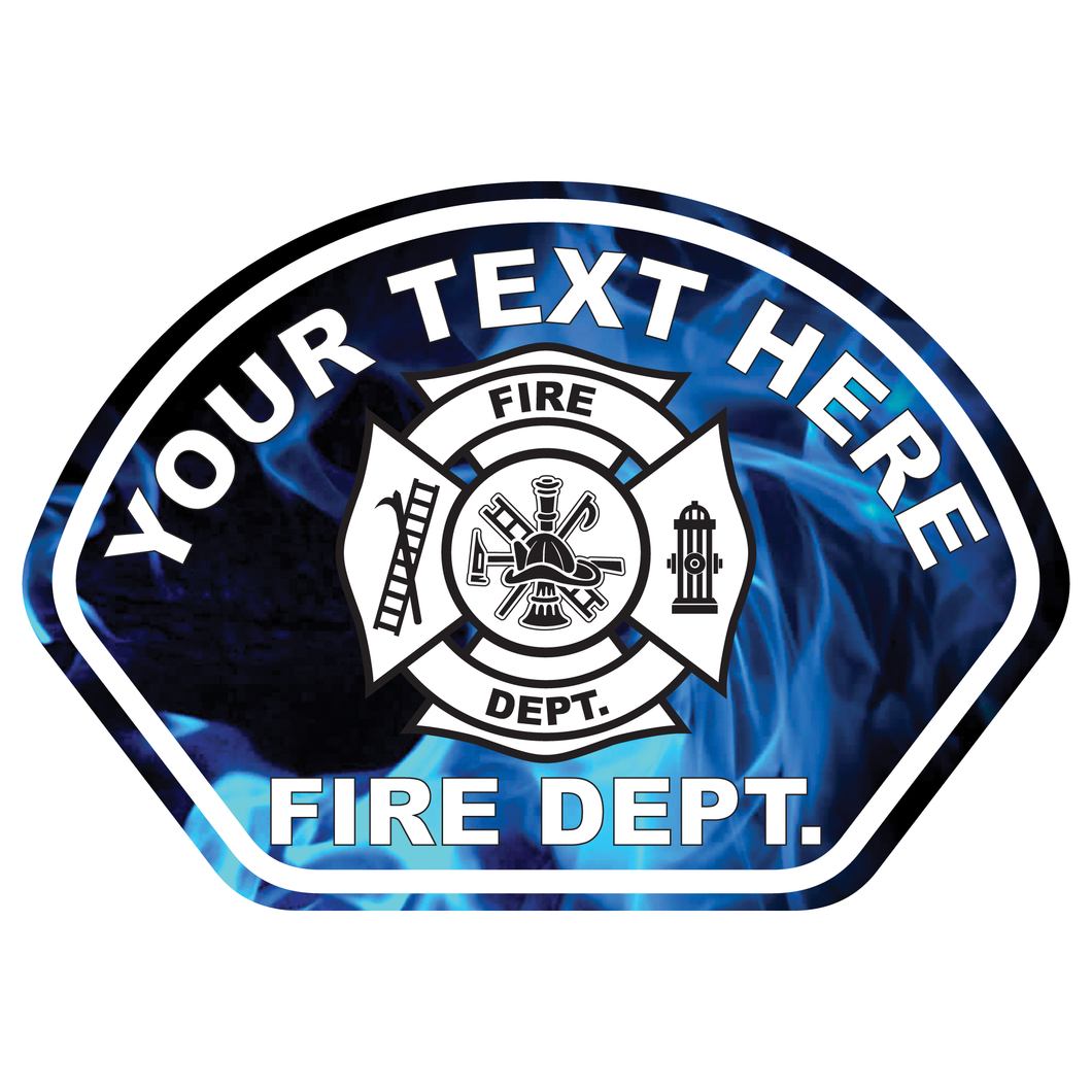 Blue Flames Fire Helmet Front Reflective Vinyl Decal