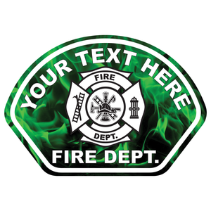 Green Flames Fire Helmet Front Reflective Vinyl Decal