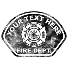Load image into Gallery viewer, Grey Flames Fire Helmet Front Reflective Vinyl Decal