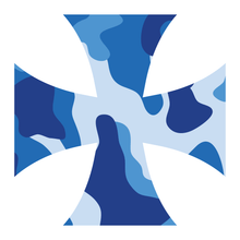 Load image into Gallery viewer, Blue Woodland Camouflage Iron Cross Reflective Vinyl Decals