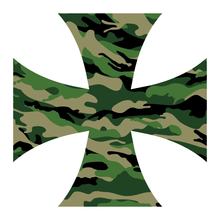 Load image into Gallery viewer, Green Woodland Camouflage Iron Cross Reflective Vinyl Decals