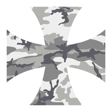 Load image into Gallery viewer, Grey Woodland Camouflage Iron Cross Reflective Vinyl Decals