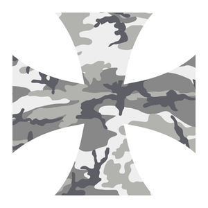 Grey Woodland Camouflage Iron Cross Reflective Vinyl Decals