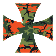Load image into Gallery viewer, Orange Woodland Camouflage Iron Cross Reflective Vinyl Decals