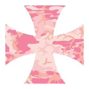 Pink Woodland Camouflage Iron Cross Reflective Vinyl Decals