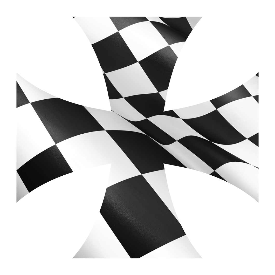 Checkered Flag Iron Cross Reflective Vinyl Decals