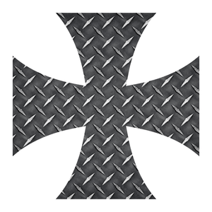 Black Diamond Plate Iron Cross Reflective Vinyl Decals