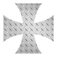 Load image into Gallery viewer, Silver Diamond Plate Iron Cross Reflective Vinyl Decals