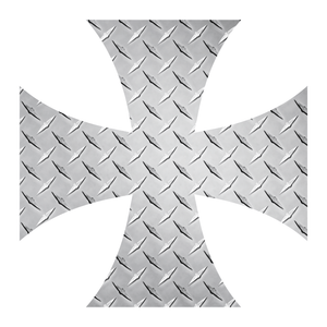 Silver Diamond Plate Iron Cross Reflective Vinyl Decals