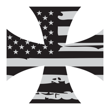 Load image into Gallery viewer, Distressed American Flag Iron Cross Reflective Vinyl Decal