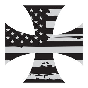 Distressed American Flag Iron Cross Reflective Vinyl Decal