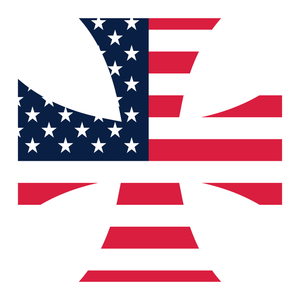 American Flag Iron Cross Reflective Vinyl Decal