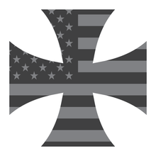 Load image into Gallery viewer, Subdued American Flag Iron Cross Reflective Vinyl Decal