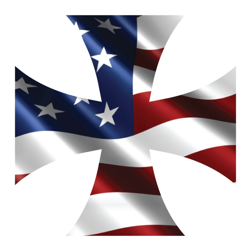 Wavy American Flag Iron Cross Reflective Vinyl Decal