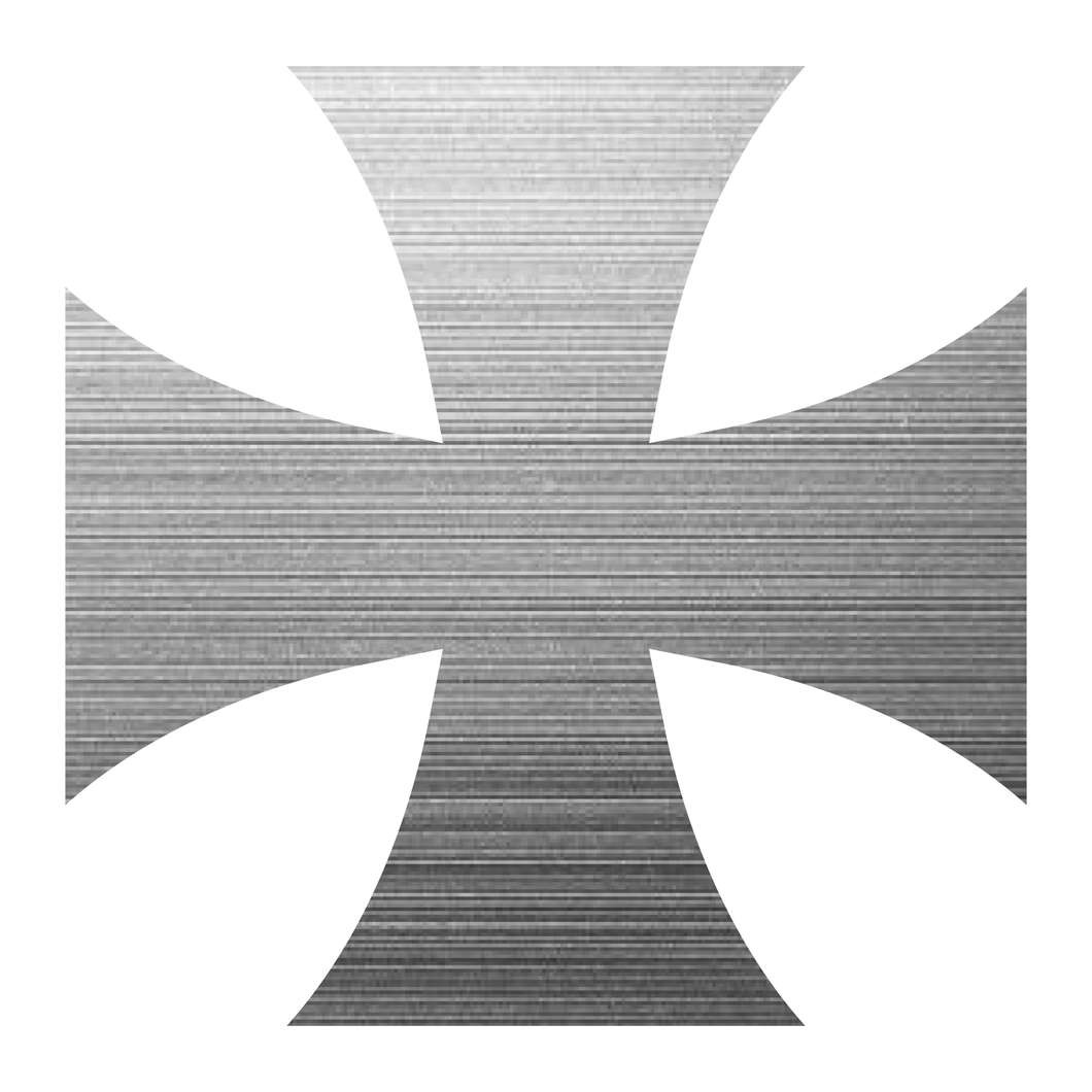 Brushed Metal Iron Cross Reflective Vinyl Decals