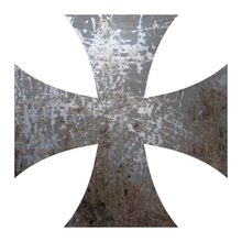 Load image into Gallery viewer, Distressed Metal Iron Cross Reflective Vinyl Decals