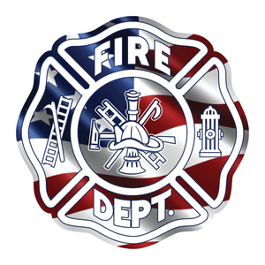 Reflective Vinyl Maltese Cross Firefighter Helmet Decal, Wavy USA Flag background, die cut vinyl reflective decal
