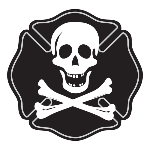 Skull & Bones Maltese Cross Reflective Decals