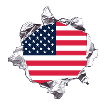 Load image into Gallery viewer, American Flag Metal Rip Reflective Decals