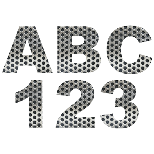 Perforated Metal Reflective Letter and Number Decals