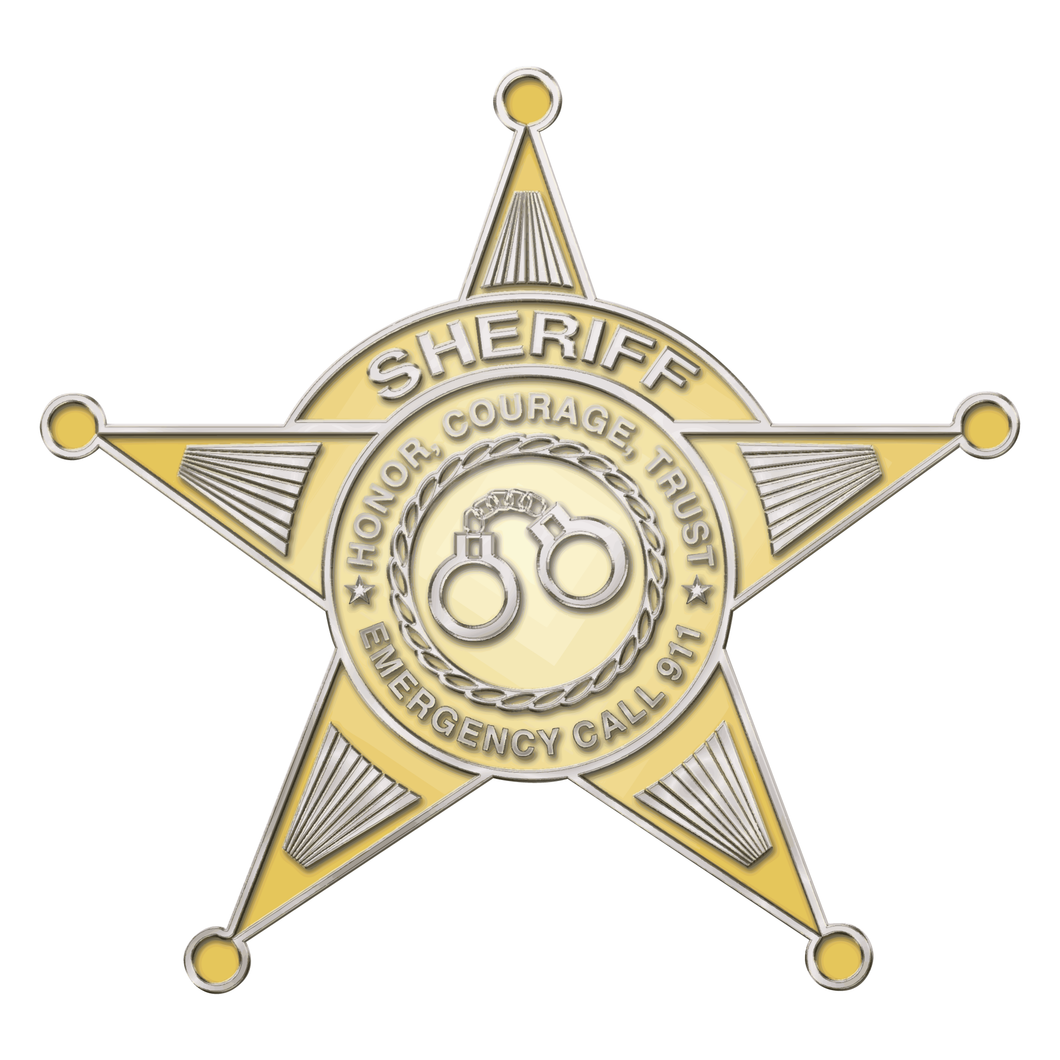 Police Sheriff Star 5 Point Gold Cuffs Reflective Decals
