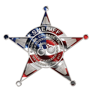 Police Sheriff Star 5 Point Wavy US Flag Reflective Decals