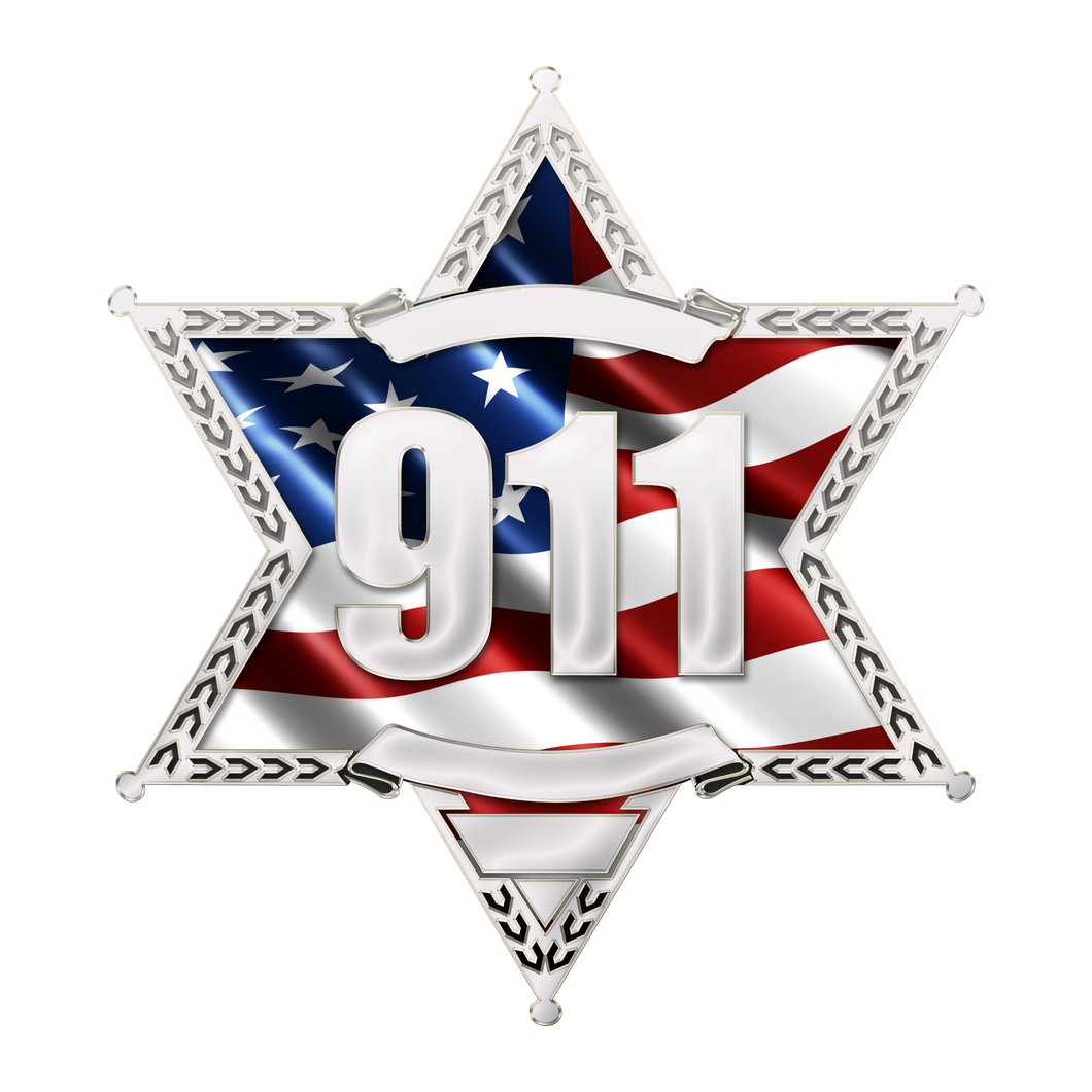 Police Sheriff Star 6 Point Wavy US Flag with 911 Reflective Decals