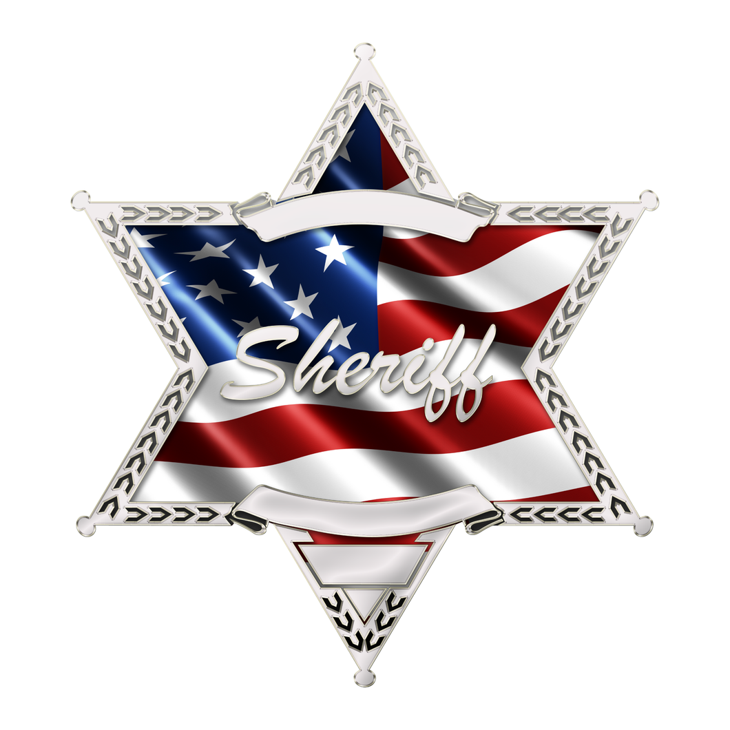 Police Sheriff Star 6 Point Wavy US Flag Sheriff Reflective Decals