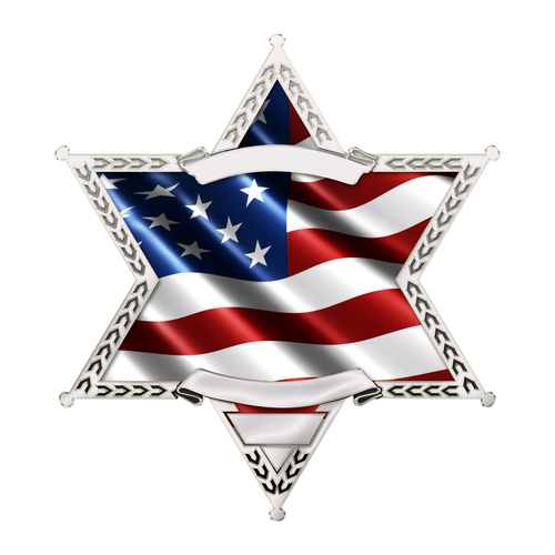 Police Sheriff Star 6 Point Wavy US Flag Reflective Decals