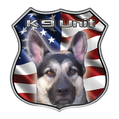Police K9 Unit Shield Wavy US Flag Reflective Decals