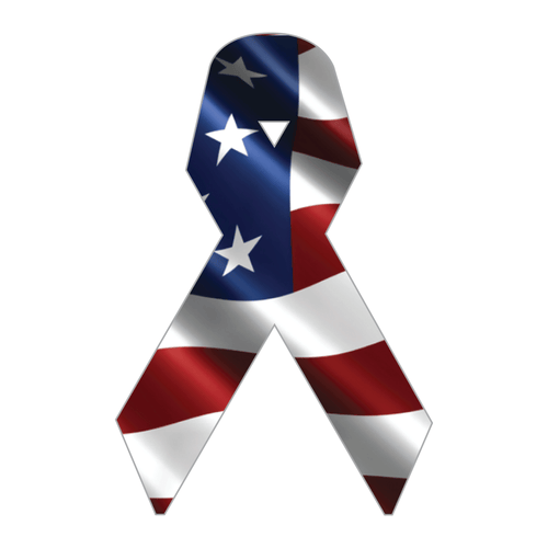Subdued American Flag Ribbon Reflective Vinyl Decal