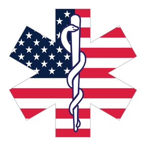 Reflective Vinyl Firefighter EMT EMS Star Of Life Decal, Standard USA Flag Background and Snake And Rod Design