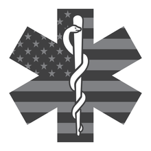 Load image into Gallery viewer, Reflective Vinyl Firefighter EMT EMS Star Of Life Decal, Subdued USA Flag Background and Snake And Rod Design