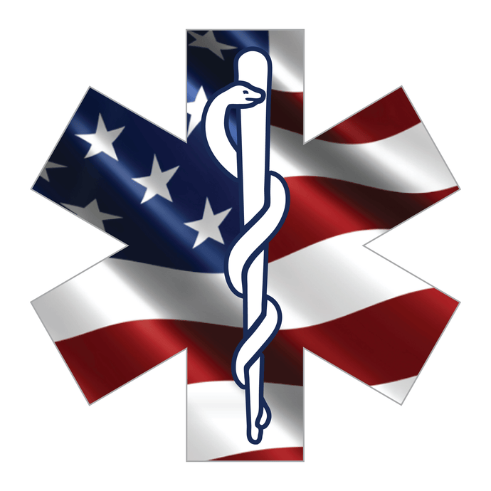 Reflective Vinyl Firefighter EMT EMS Star Of Life Decal, Wavy USA Flag Background and Snake And Rod Design