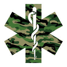 Load image into Gallery viewer, Green Woodland Camouflage Star Of Life Reflective Vinyl Decals