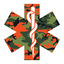 Load image into Gallery viewer, Orange Woodland Camouflage Star Of Life Reflective Vinyl Decals