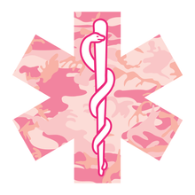 Load image into Gallery viewer, Pink Woodland Camouflage Star Of Life Reflective Vinyl Decals