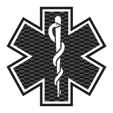 Load image into Gallery viewer, Carbon Fiber with Outline Star Of Life Reflective Vinyl Decals