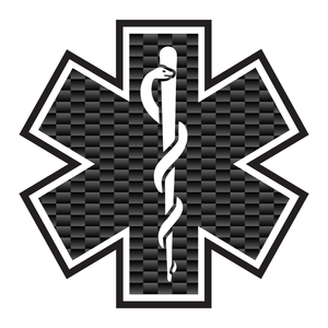 Carbon Fiber with Outline Star Of Life Reflective Vinyl Decals