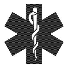 Load image into Gallery viewer, Carbon Fiber Star Of Life Reflective Vinyl Decals