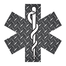 Load image into Gallery viewer, Black Diamond Plate Star Of Life Reflective Vinyl Decals