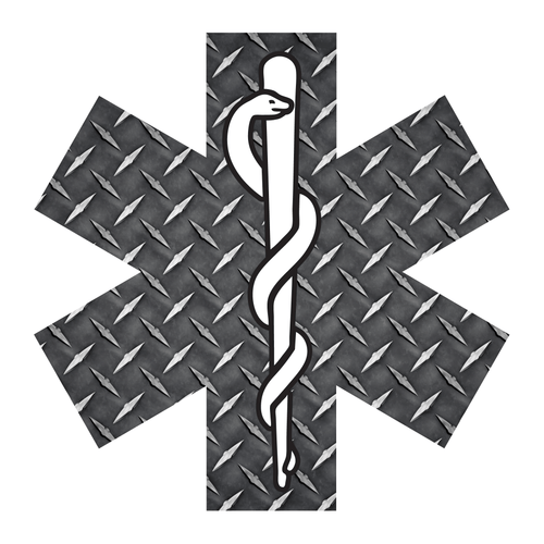 Black Diamond Plate Star Of Life Reflective Vinyl Decals
