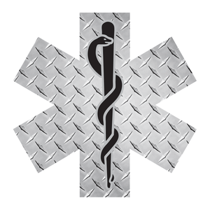 Silver Diamond Plate Star Of Life Reflective Decals