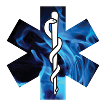 Load image into Gallery viewer, Blue Fire Star Of Life Reflective Vinyl Decals
