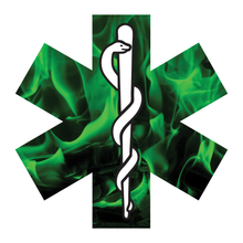 Load image into Gallery viewer, Green Fire Star Of Life Reflective Vinyl Decals