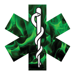 Green Fire Star Of Life Reflective Vinyl Decals